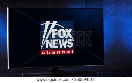 Poznan, Pol - Feb 04, 2020: Flat-screen Tv Set Displaying Logo Of Fox News, An American Conservative