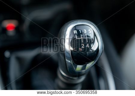 Car Gear Shift Lever, Manual Gearbox In The Car Macro Black, Manual Transmission