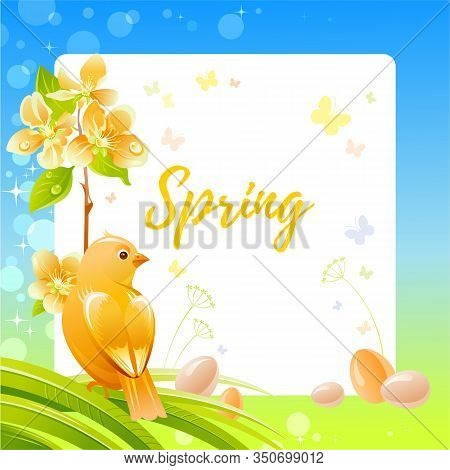 Spring Frame With Cherry Blossom Flower, Canary Bird, Eggs, Garden Elements. Cute Catroon Banner Wit