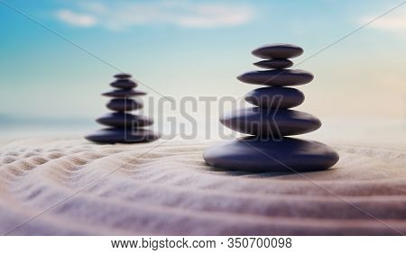 Zen-like Balanced Stones In Stack. Harmony And Meditation Concept. 3d Rendered Illustration.