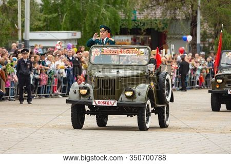 Anapa, Russia - May 9, 2019: Veterans Ride On Anapa Theater Square To Celebrate Victory Day