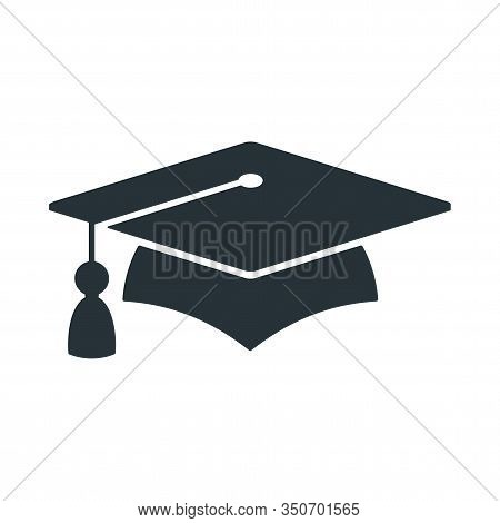 Graduate Cap Black Logo. University Mortarboard. Badge For Banner, Poster Or Flyer For Graduation Pa