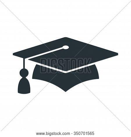 Graduate Cap Black Logo. University Mortarboard. Badge For Banner, Poster Or Flyer For Graduation Pa