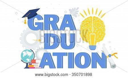 Word Graduation Typography Vector Concept On White Background. Graduate Caps Thrown Up. Congratulati