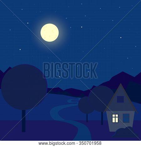 Cartoon Night Outdoor Landscape. Contryside House Near The Path. Midnight Blue Sky. Stock Vector Ill