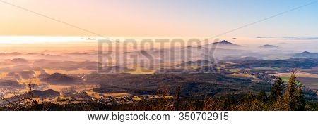 Hilly Landscape On Sunny And Foggy Day. Weather Inversion. Central Bohemian Highlands, Czech: Ceske