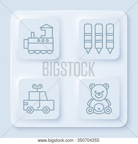 Set Line Toy Train, Wax Crayons For Drawing, Toy Car And Teddy Bear Plush Toy. White Square Button.