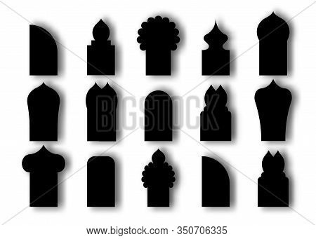 Set Arabic Arch Window And Doors Black Icon. Traditional Design And Culture Islamic Windows. Vector