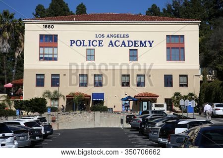Los Angeles, California / USA - February 12, 2020: Los Angeles Police Academy building and parking lot. Editorial Use Only.
