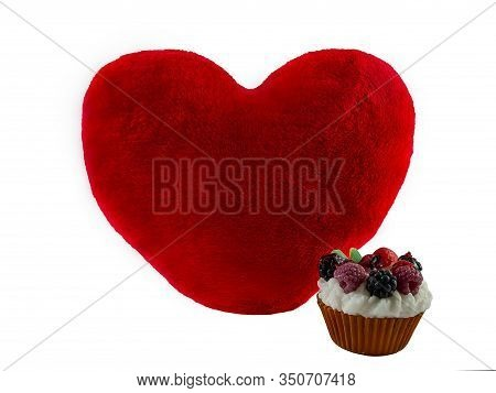 A Large Red Heart On A White Background In A Composition With A Berry Cake. St. Valentines Day.
