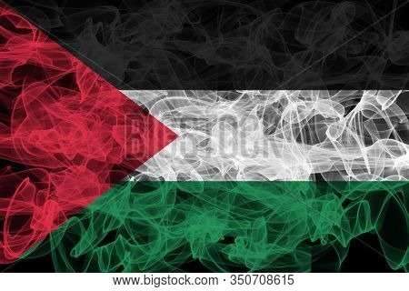 Palestine Smoke Flag On Black Background, Palestine Flag