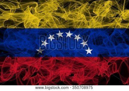 Venezuela Smoke Flag On Black Background, Venezuela Flag