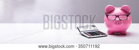 Piggybank Wearing Glasses And Calculator On Desk