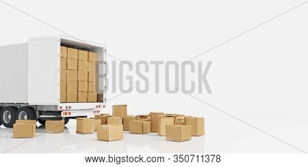 Lots of moving boxes in front of and in the truck of a freight forwarder when moving (3d rendering)