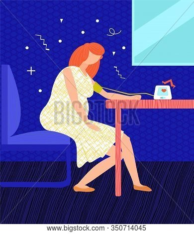 Vector Flat Illustration With Pregnant Woman Measuring Blood Pressure. She S Got High Blood Pressure