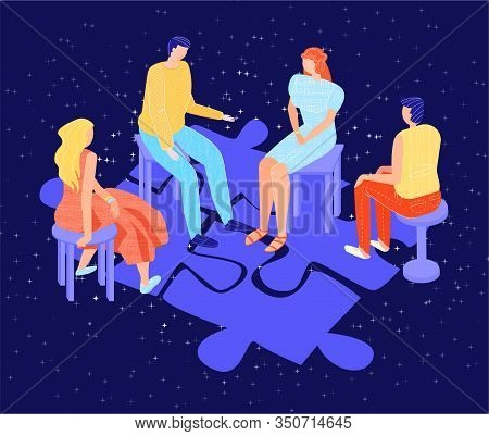 Vector Flat Illustration With Group Psychological Therapy On Background Of Abstract Puzzle As Symbol