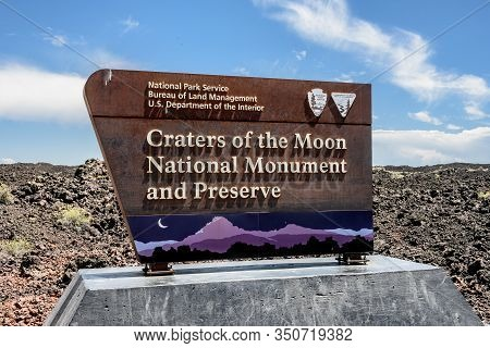 Craters Of The Moon, United States: Craters Of The Moon National Monument And Preserve Entry Sign