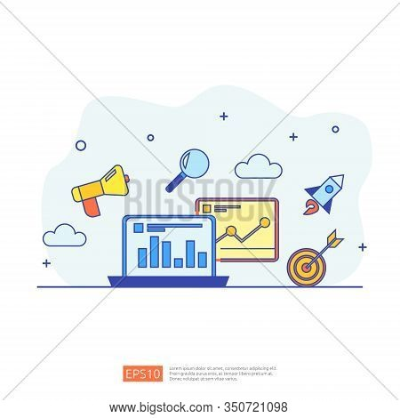 Digital Marketing Strategy Concept Vector Illustration. Business Growth Graph And Chart Increase To