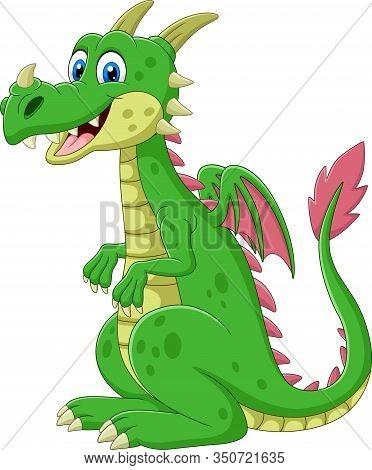 Vector Illustration Of Cartoon Happy Green Dragon Sitting