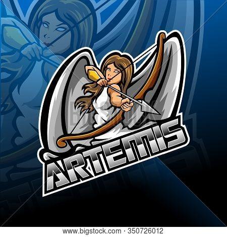 Artemis Esport Mascot Logo Design With Text