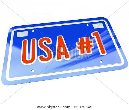 A vanity license plate in red white and blue with the letters and words USA Number One with number 1 to show patriotism and national pride in United States of America