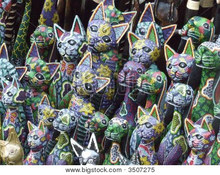 Wooden Souvenir Cats For Sale In Ubud Market Bali Indonesia