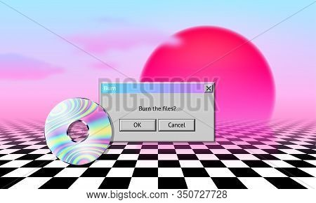 Vaporwave Landscape With Cd, Dialogue Window, Sun, Clouds And Checked Floor