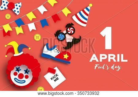 1 April Fools Day. Funny Crazy Mask Glasses. Jester Hat. Kick Me Prank Paper Sticker. Funny Clown, R