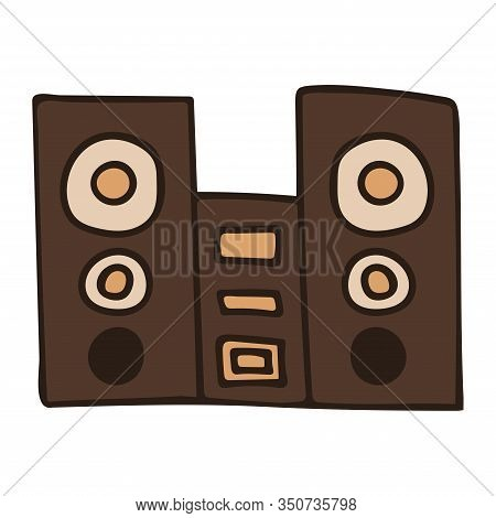 Speakers With Subwoofer. Music System. White Background Isolated Stock Vector Illustration