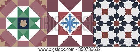 Vintage Peranakan Tile Seamless Pattern Set. Original Vintage Peranakan Tile Design In Georgetown Pe