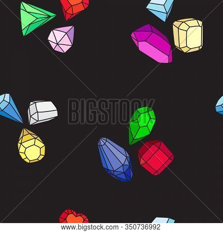 Crystals And Gems. Seamless Vector Pattern Of Bright Multi-colored Gems And Crystals On A Black Back