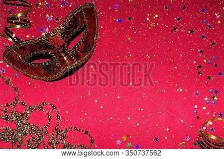 Festive Mask With Decor On A Red Background. Carnival Celebration Concept, Mardi Gras, Brazilian Car