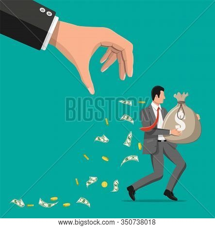 Hand Tries To Grab The Bag Of Money Running Businessman. Stealing Money, Tax, Debt, Fee, Crisis And
