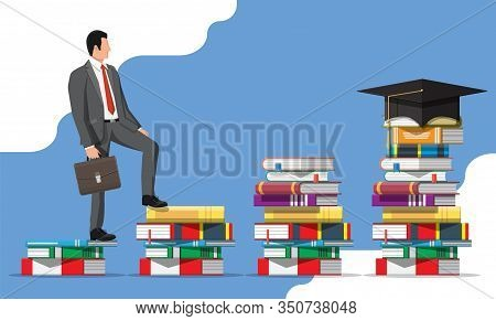 Businessman On Stack Of Books. Business Man With Briefcase. Education And Study. Business Success, T