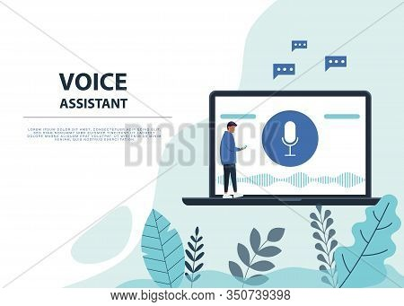 Male Character Using Voice Control For His Phone. Voice Assistent. Isolated Vector Illustration Of V