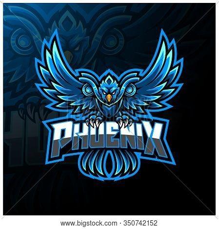 Blue Phoenix Esport Mascot Logo Design With Text