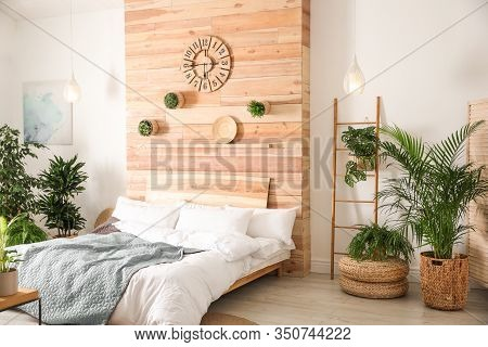 Stylish Bedroom Interior With Green Plants. Home Design Ideas