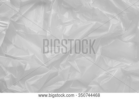 Close Up Texture Of A Plastic Garbage Bag. Polyethylene Film