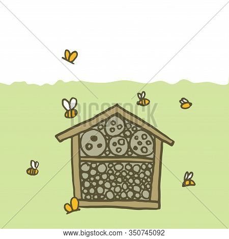 Bee Hotel Insect Butterfly Bug House, Wooden Object Produced To Mimic The Solitary Bees Natural Bree