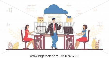 Business Software Service. Cloud Computing Segment. Man Woman Team Working On Computer In Office Usi
