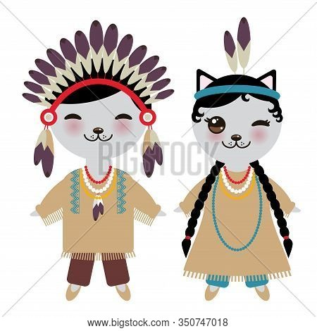 American Indians Kawaii Boy And Girl In National Costume. Cartoon Kawaii Cat In Traditional Dress In