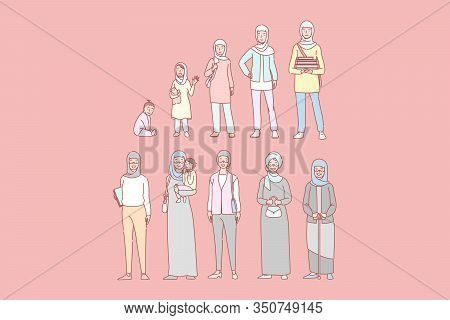 Arab Womans Life Cycle Set Concept. Illustration Of Arab Woman In Different Age From Newborn To Cron