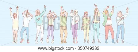 Party Animals Set Concept. Group Of Men And Women Dancers On Dance Floor. Illustration Of Students D