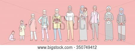 Woman Muslim Life Stages Set Concept. Illustration Of Arab Woman In Different Age From Newborn To Cr