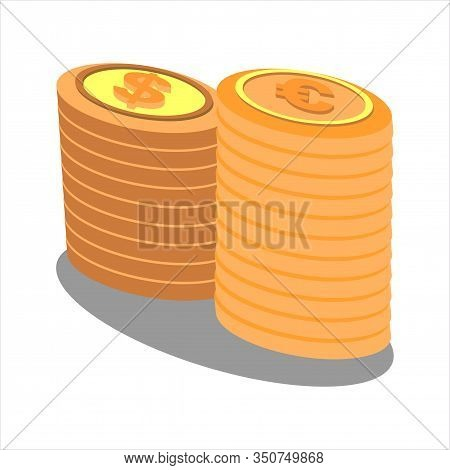 Isometric Coins Icon Isolated On White Background. Coins Icon In Trendy Design Style. Coins Vector I