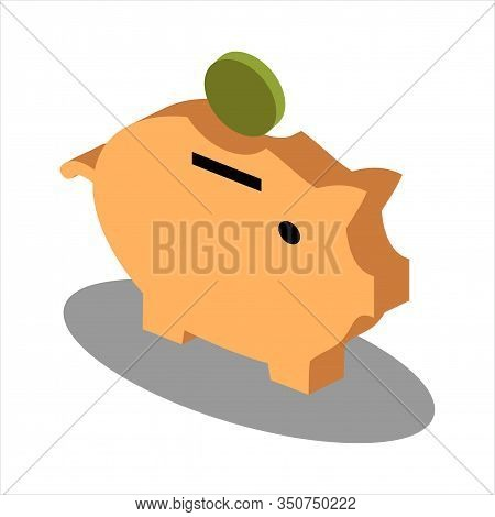 Isometric Piggy Bank Icon Isolated On White Background From Insurance Collection. Piggy Bank Icon Tr