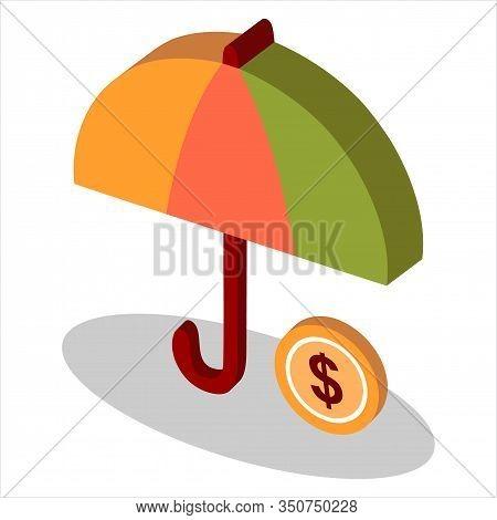 Isometric Umbrella Icon Vector Isolated On White Background. Colored Vector Umbrella. Umbrella Icon