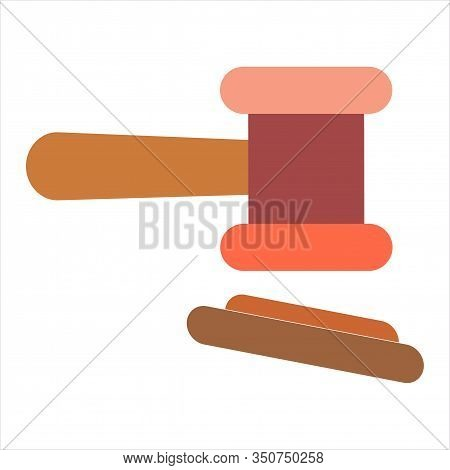 Law And Order Or Auction Concept. Protection Logotype With Gavel Judge Or Auctioneer. Concept Auctio