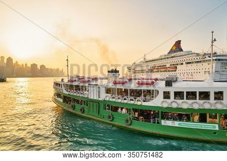 HONG KONG, CHINA - CIRCA JANUARY, 2019: the Star Ferry at Victoria Harbour. The Star Ferry is a passenger ferry service operator and tourist attraction in Hong Kong.