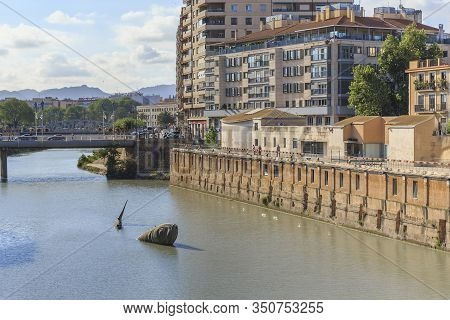 Murcia, Spain - May 19, 2017: The Sardine Fountain Is Set In The River Segura To Perpetuate The Loca